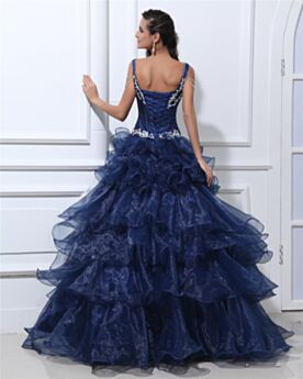 Quinceanera Dresses Open Back Satin Beaded Ball Gowns Prom Dress Elegant Ruffle Navy Blue Long