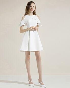 Satin Ruffle Dress For Wedding Short White Semi Formal Dress Cocktail Dress