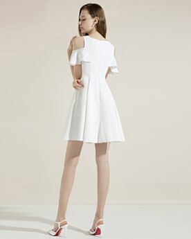 Satin Ruffle Dress For Wedding Short White Semi Formal Dress Cocktail Dress