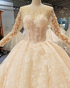 Sparkly Charming Long Sleeve Beading Glitter Wedding Dress Ivory Ball Gown See Through Lace