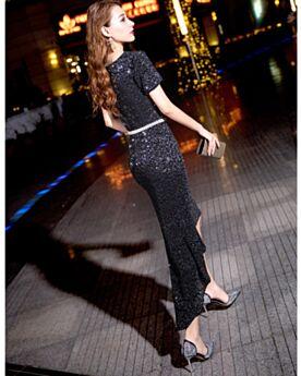 カクテル ドレス キャバ ドレス ブラック キラキラ 半袖 シース ベルト付き 膝丈 セミ フォーマル 深 v ネック スパンコール 15220181205