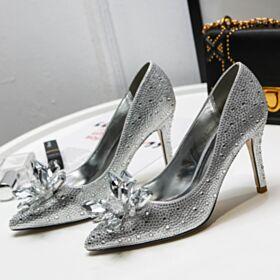 Escarpins Avec Cristal Talon Mid Chaussure De Soirée Talons Aiguilles Brillante