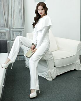 Going Out Modest Scoop Neck Peplum Long Sleeved Jumpsuit Outfit 2019 Office Dress White Straight