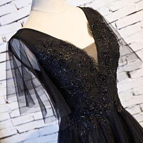 Schwarz Rückenausschnitt Ballkleid Abendkleid Spitzen Ärmellos A Linie Lange Tüll Tiefer Ausschnitt Elegante