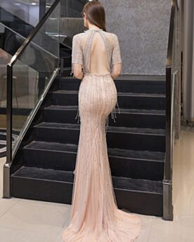 Formal Evening Dresses Sequin With Crystal Gorgeous A Line Open Back