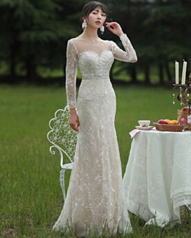 Wedding Dresses Sheath Long Elegant Reception Lace Sequin Open Back Ivory Long Sleeved Sweetheart