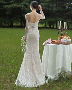 Lange Ärmel Strand Standesamt Glitzernden Spitzen Etui Elegante Pailletten Brautkleider