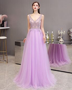 Elegant Lilac Sleeveless Homecoming Dresses Cute Evening Dresses Tulle Backless Crystal Princess Juniors Low Cut