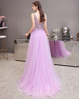 Elegant Lilac Sleeveless Homecoming Dresses Cute Evening Dresses Tulle Backless Crystal Princess Juniors Low Cut