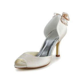 Talons Aiguilles Escarpins Satin Peep Toes Élégant 8 cm Talons Hauts Noeud Chaussure De Mariée
