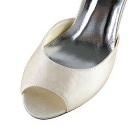 Zapatos De Novia Stiletto Tacon Alto Peeptoes Satin Zapatos Con Tacon Elegantes