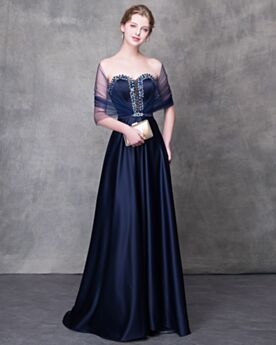 Beaded Summer Sexy Empire Strapless Sleeveless Prom Dresses Long Navy Blue With Train Formal Evening Dresses Open Back Vintage