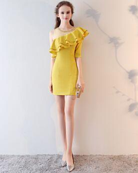 Short Peplum Sheath Yellow One Shoulder Cocktail Dress Half Sleeve Cute