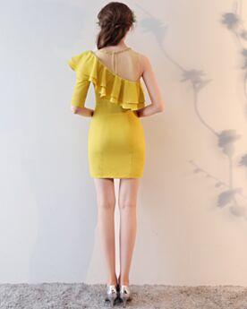 Abschlusskleid Festliche Kleider Chiffon Bleistift Cocktailkleid Schlichte Halbe Ärmel Rüschen Tüll Kurze Schöne Schößchen One Shoulder Perlen
