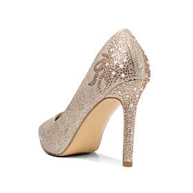 Chaussure Mariée Doré 10 cm Printemps Perle Chaussure De Soirée 2018 Escarpins Brillante Strass Paillette Talons Aiguilles