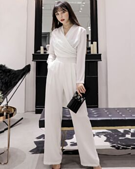 Chiffon Jumpsuits Outfits Long Long Sleeved White Going Out