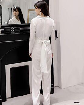 Blanche Combinaison Pantalon Portefeuille Manche Longue Printemps Mousseline