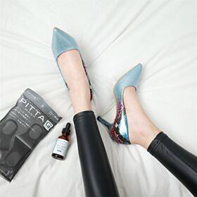 Glitter Azzurro Polvere Ufficio Con Tacco A Spillo A Punta Uscire Tacco Alto In Vernice Ecopelle Pitonati Decollete