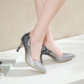 Hoge Hakken Zakelijke Schoenen Slangenprint Stiletto Imitatieleren Glitter Pumps
