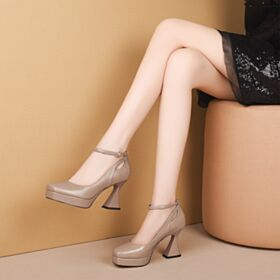Women Shoes Pumps Classic Beige 8 cm High Heel Ankle Strap Chunky Heel Summer Leather