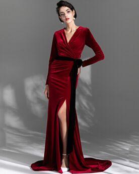 Modesti Vintage Vestiti Da Cerimonia Velluto A Portafoglio Lungo Con Cintura In Vita Bordeaux Eleganti Abiti Da Sera Manica Lunga Semplici