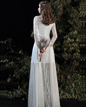 Long Sleeve Sheath Bohemian White Beach See Through Bridals Wedding Dress
