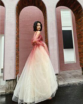 Lange Rückenausschnitt Farbverlauf Lange Ärmel Glitzer Glitzernden Ballkleider Rot Abendkleider Transparentes Kleider Für Festliche Schöne