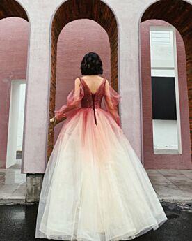 Glitter Manica Lunga Con Tulle Belle Rosso Vestiti Da Cerimonia Lunghi Schiena Scoperta