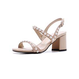 Color Carne Pelle 7 cm Tacco Medio Sandali Donna Tacco Largo Con Perle