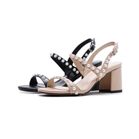 Strappy Summer Nude Ankle Strap Sandals Chunky Heel