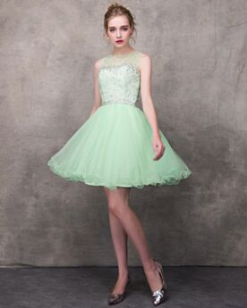 Short Cocktail Dress Transparent Graduation Dress Mint Green Cute Scoop Neck Flounce Tulle Beading Sleeveless
