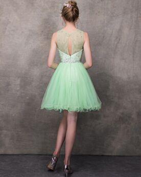 Verde Abiti Per Laurea Chic Senza Maniche Tulle Trasparenti Vestiti Da Cerimonia Vestiti Da Cocktail Con Perline
