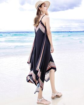 Trägerkleid Ärmellos Kleid Sommer Bohemian Spaghettiträger Schwarz Strandkleider Rückenfreies Tiefer Ausschnitt Locker Sitzendes