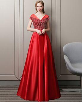 Abiballkleid Lange Partykleider Elegante Abendkleid Rückenausschnitt Organza Rot Empire Perlen