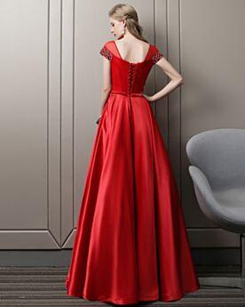 Impero Vestiti Da Cerimonia Abiti Da Sera Eleganti Lungo Rosso Organza Schiena Scoperta