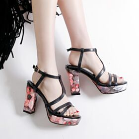 Strappy Floral 3 inch Chunky Heel High Heels Sandals Black Platform Going Out Shoes Block Heel Sexy Leather