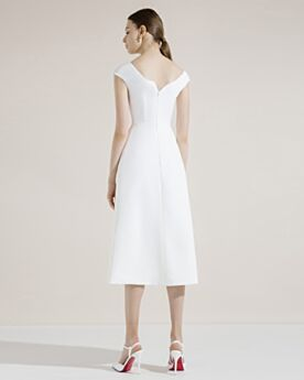 Vokuhila Satin Etui Abschlussballkleid Kurze Cocktailkleid Weiß Ärmellos