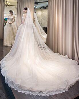 Longue Tulle Belle Robe De Mariage Luxe Ivoire