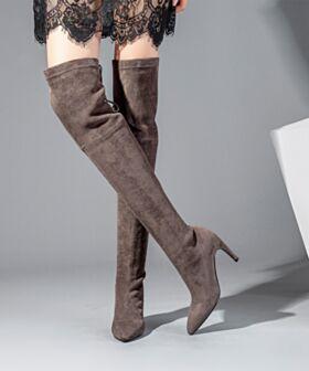 Botas Arriba De La Rodilla Casuales Cordones 9 cm Tacon Alto Gamuza De Cuero Botas Altas Stilettos