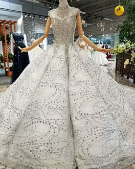 Sweet 16 Dress Long Luxury Spring 2019 Engagement Dress High Neck Quinceanera Dresses Prom Dresses Plunge Ball Gown Sequin Glitter Silver With Train