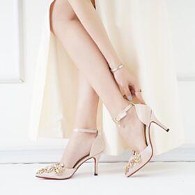 Nu Pied Talons Aiguilles Talons Hauts Cristal Or Champagne Avec Bride Cheville Chaussure Demoiselle D honneur Satin Avec Strass Chaussure De Mariée