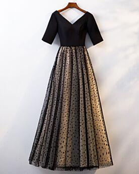 深 v ネック シンプル な フレア ブラック ドット 柄 チュール 二次会 パーティー ドレス ロング 17220190213