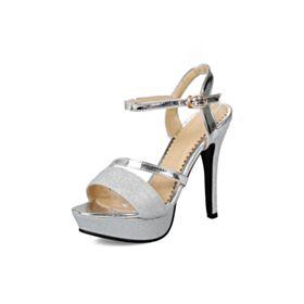 Glitter Scarpe Da Cerimonia Sandali Plateau 13 cm Tacco Alto Con Cinturino Alla Caviglia