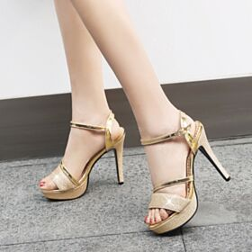 Oro Con Cinturino Alla Caviglia Sandali Scarpe Da Cerimonia Tacco A Spillo Glitter Tacco Alto 13 cm Plateau