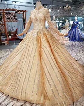 Kirche Glitzernden Lange Ärmel Prinzessin Glitzer Luxus Gold Spitzen Brautkleider Applikationen