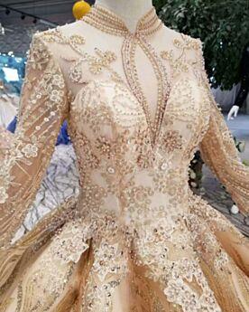 Boule Longue Dentelle Appliques Dorée Luxe Brillante Manche Longue Glitter Robe De Mariée Col Haut