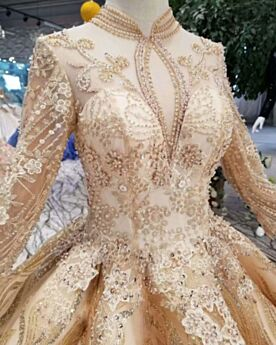 Luxury Ball Gowns High Neck Sparkly Lace Appliques Gold Bridals Wedding Dress Long Sleeve Glitter Long