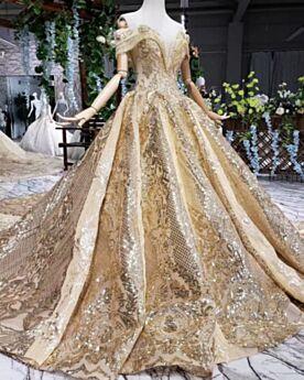 2019 Sparkle Luxe Baljurk Off Shoulder Laag Uitgesneden Glitter Kanten Applique Bruidsjurken Gouden Franjes