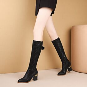 Stretchy Faux Leather Black Womens Boot Thick Heel 7 cm Heel