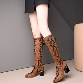 7 cm Middelhoge Hakken Ronde Neus Modern Blokhakken Laarzen Bruine